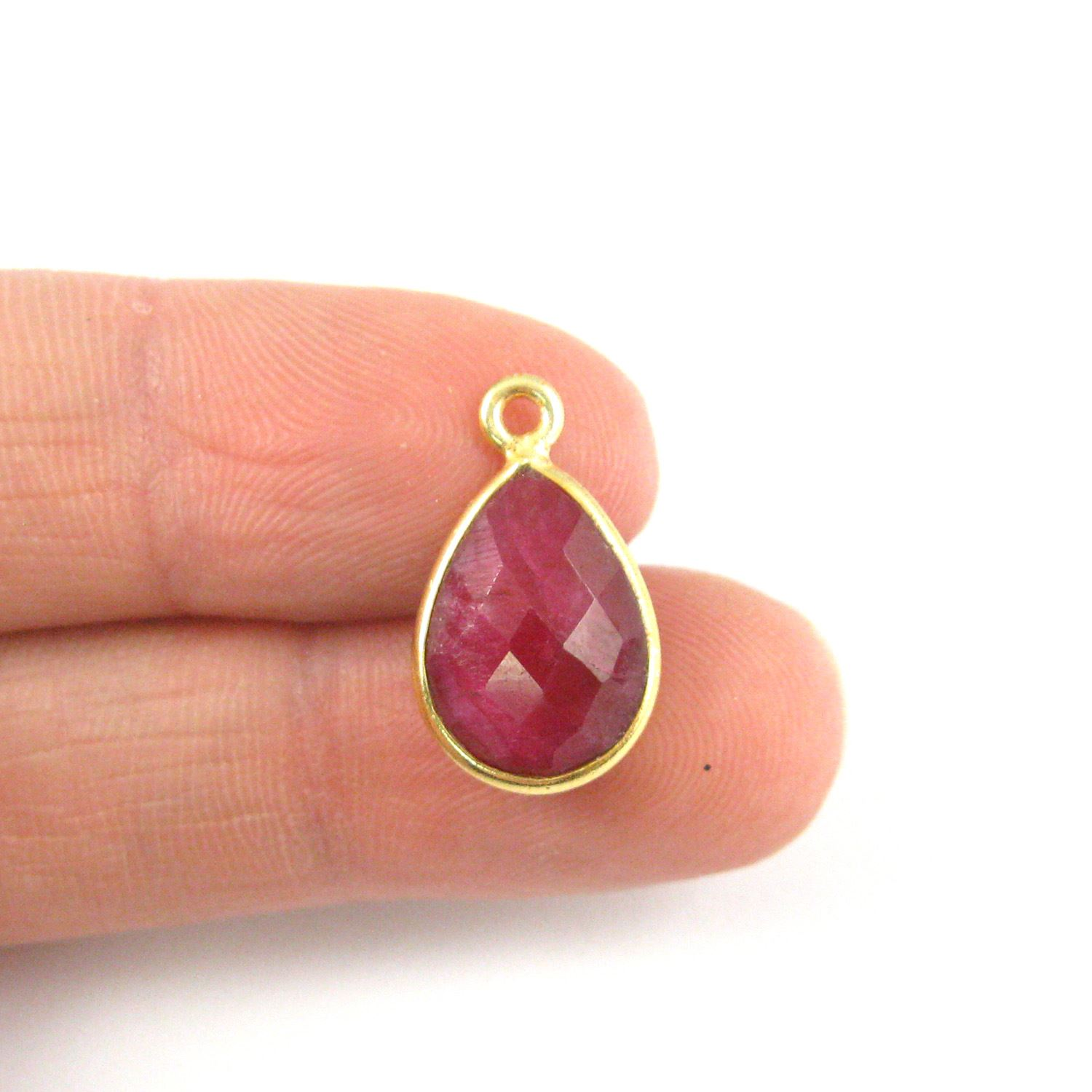 Bezel Gemstone Pendant - 10x14mm Faceted Small Teardop Shape -Dyed Ruby  (Sold per 2 pieces)