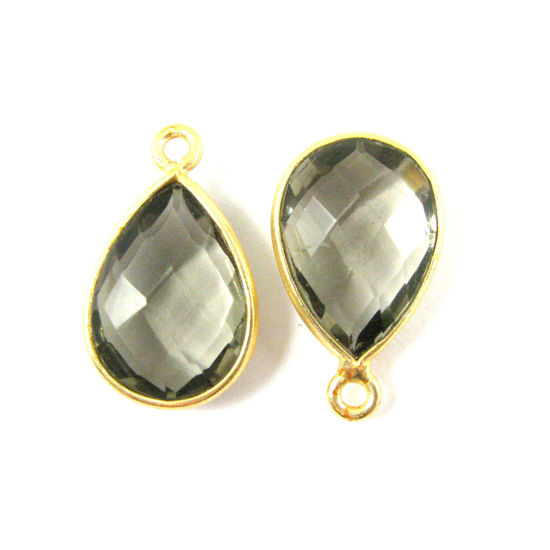 Bezel Gemstone Pendant - 10x14mm Faceted Small Teardop Shape - Smokey Quartz  (Sold per 2 pieces)