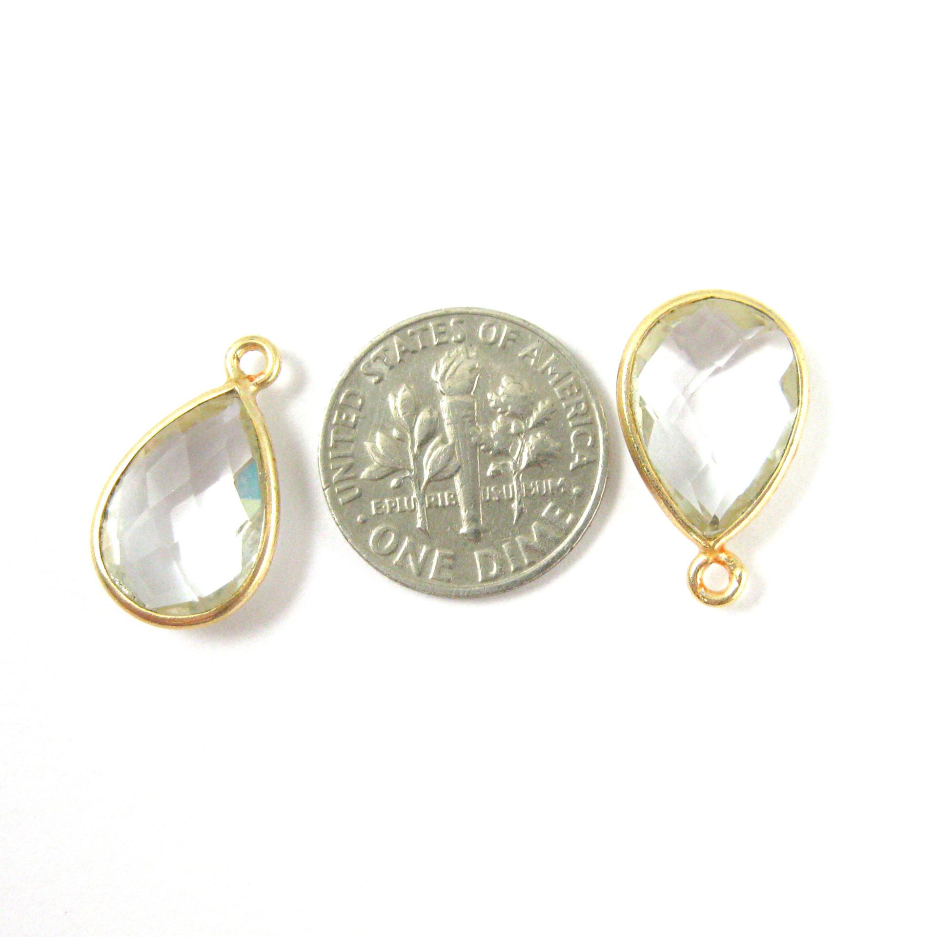 Bezel Gemstone Pendant - 10x14mm Faceted Small Teardop Shape - Crystal Quartz (Sold per 2 pieces)