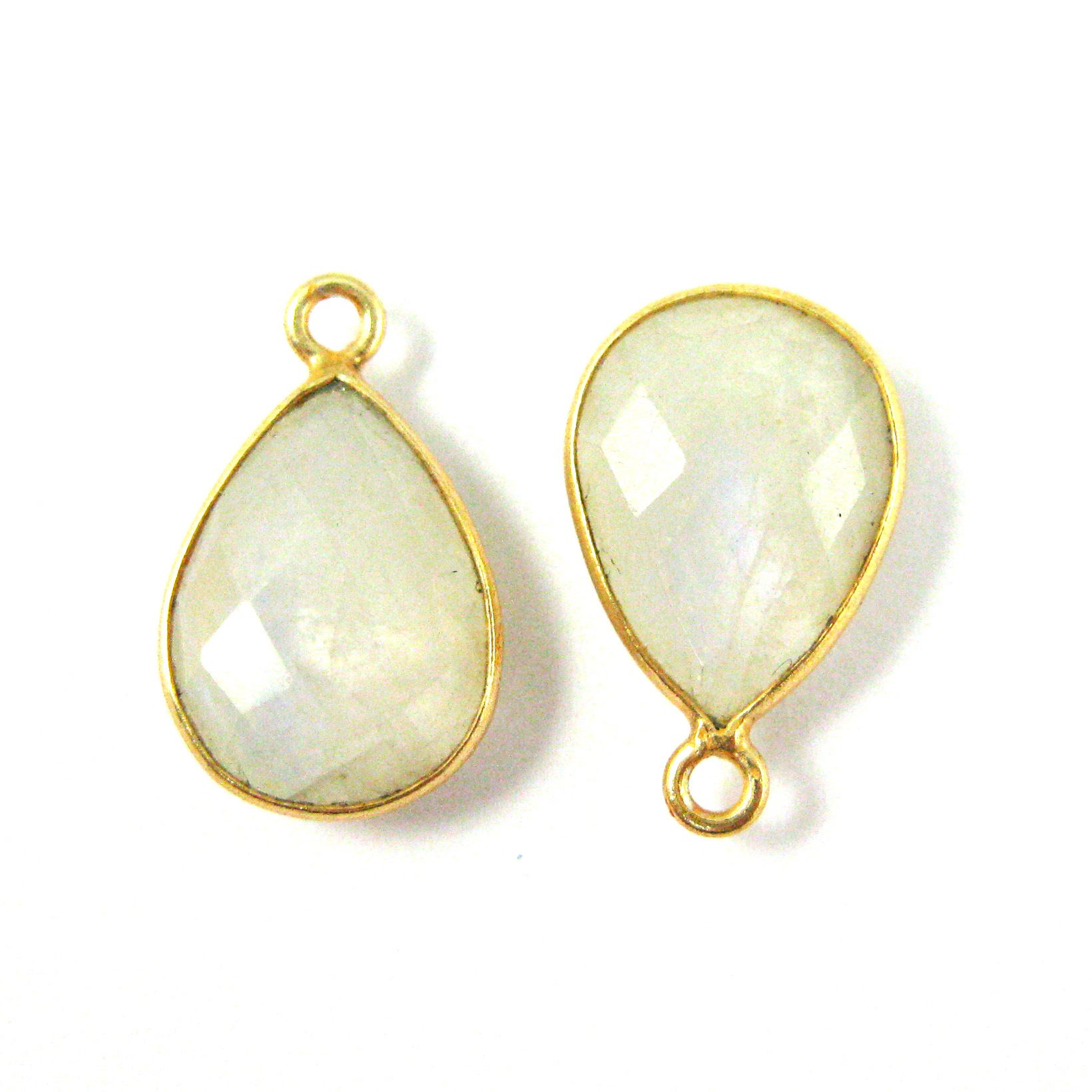 Bezel Gemstone Pendant - 10x14mm Faceted Small Teardop Shape - Moonstone  (Sold per 2 pieces)