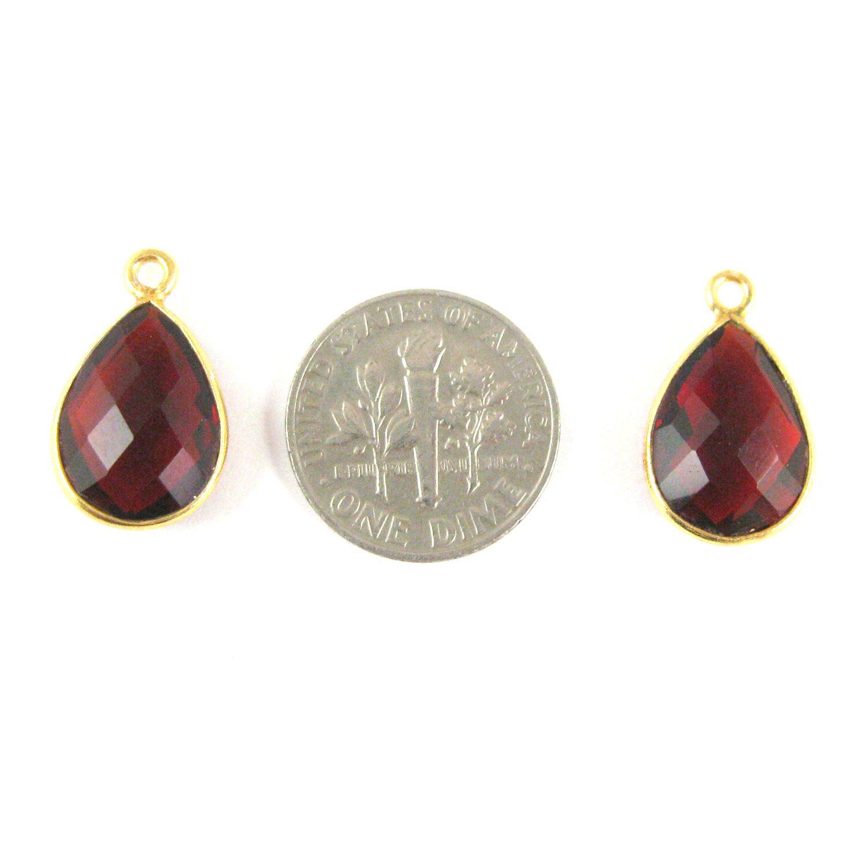 Bezel Gemstone Pendant - 10x14mm Faceted Small Teardop Shape - Garnet Quartz (Sold per 2 pieces)