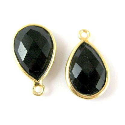 Bezel Gemstone Pendant - 10x14mm Faceted Small Teardop Shape - Black Onyx  (Sold per 2 pieces)