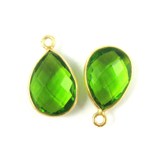Bezel Gemstone Pendant - 10x14mm Faceted Small Teardop Shape - Peridot Quartz (Sold per 2 pieces)