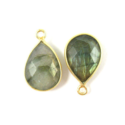 Bezel Gemstone Pendant - 10x14mm Faceted Small Teardop Shape - Labradorite  (Sold per 2 pieces)