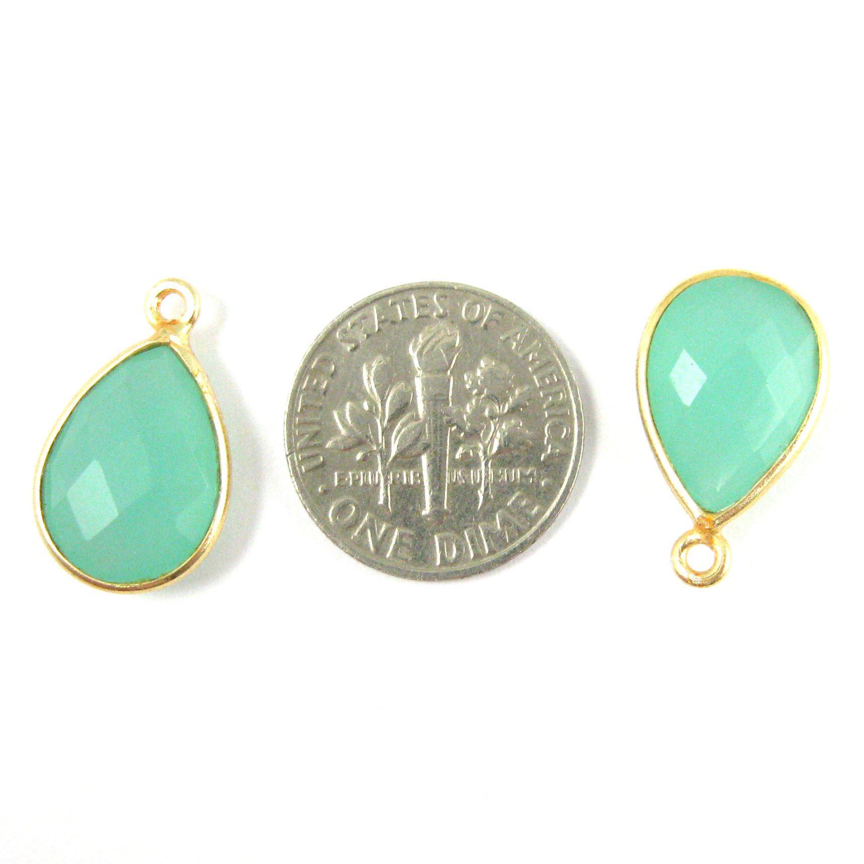 Bezel Gemstone Pendant - 10x14mm Faceted Small Teardop Shape - Peru Chalcedony  (Sold per 2 pieces)