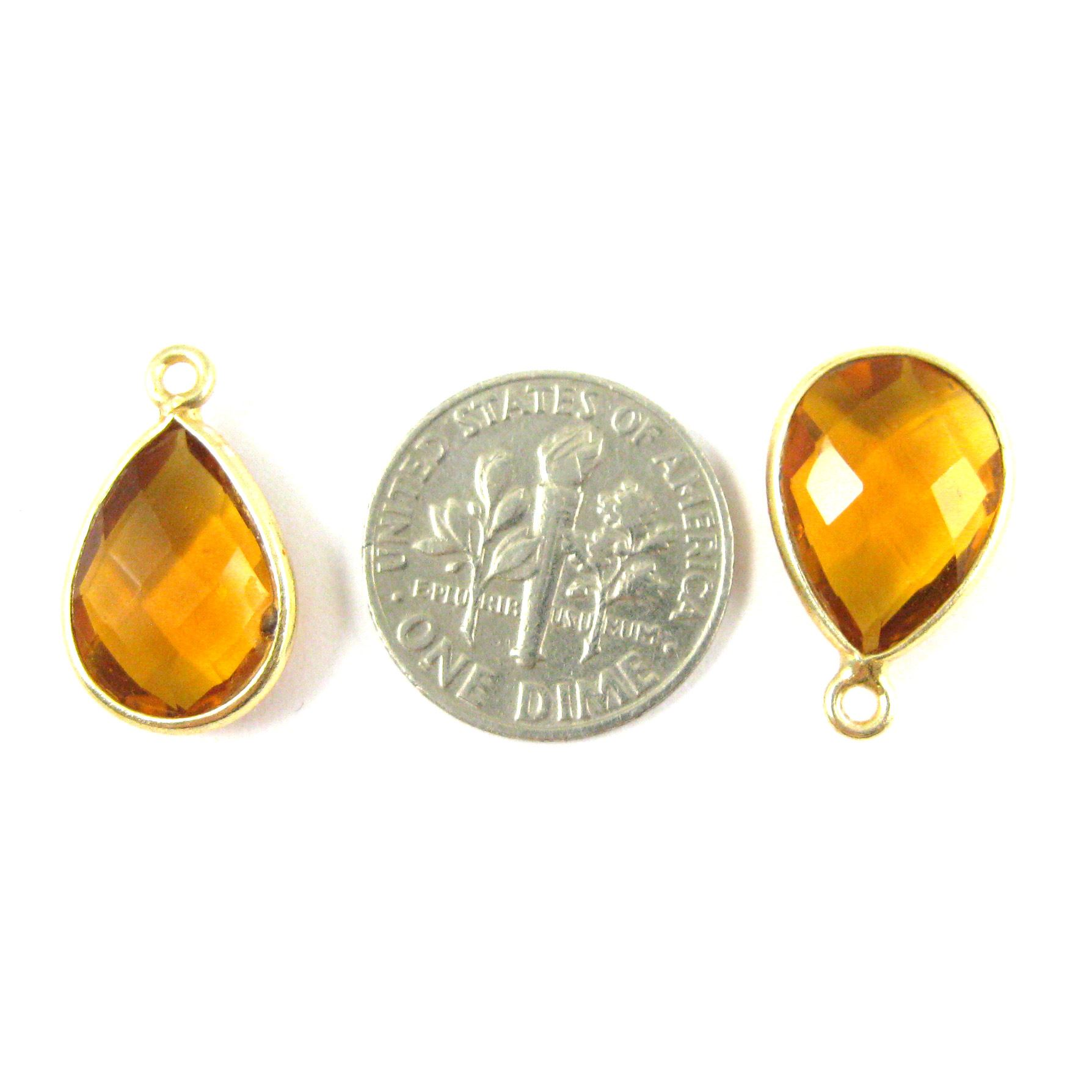 Bezel Gemstone Pendant - 10x14mm Faceted Small Teardop Shape - Citrine Quartz (Sold per 2 pieces)