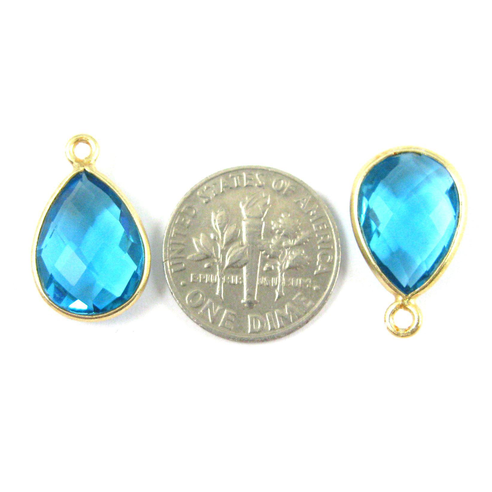 Bezel Gemstone Pendant - 10x14mm Faceted Small Teardop Shape - Blue Topaz Quartz (Sold per 2 pieces)