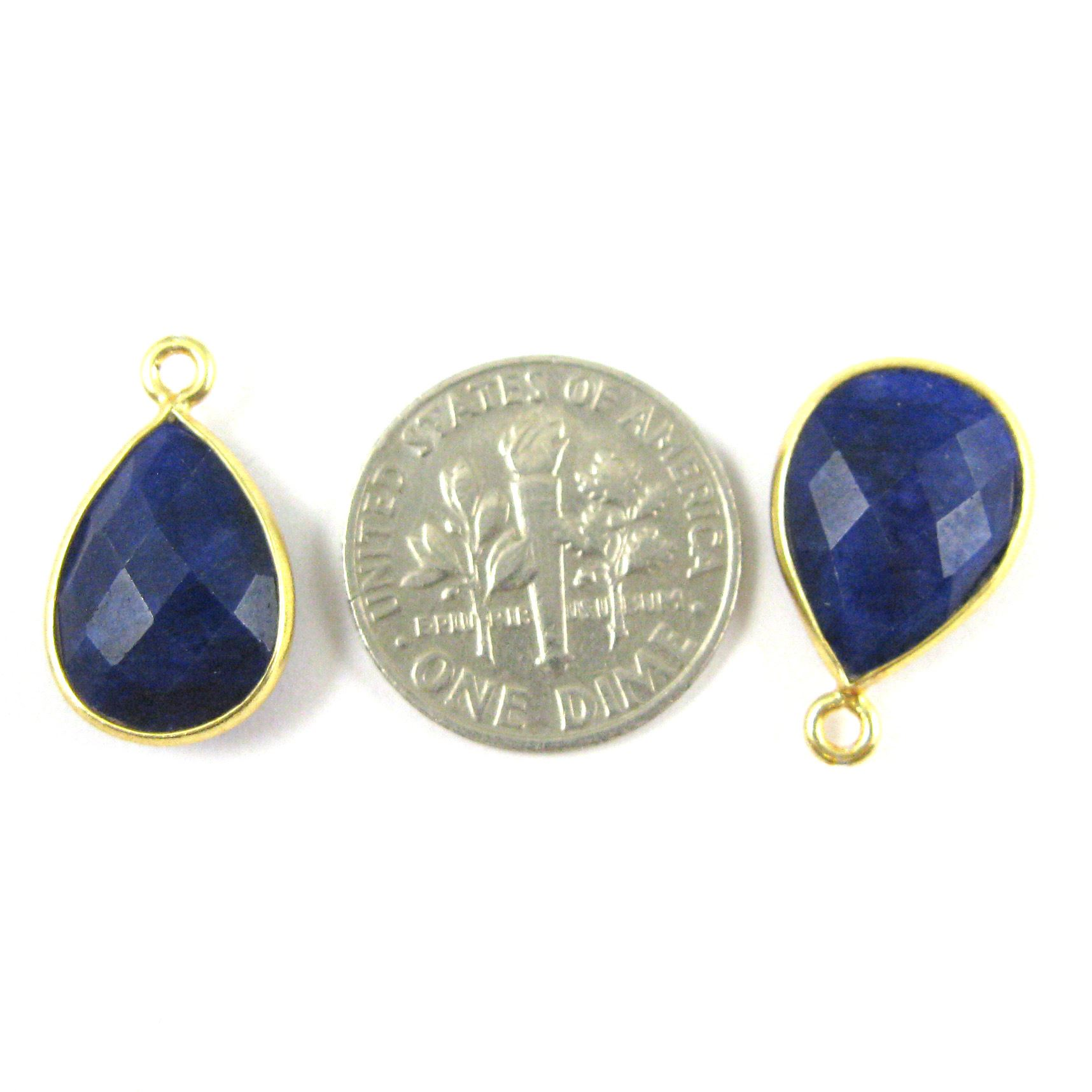 Bezel Gemstone Pendant - 10x14mm Faceted Small Teardop Shape - Blue Sapphire Dyed  (Sold per 2 pieces)