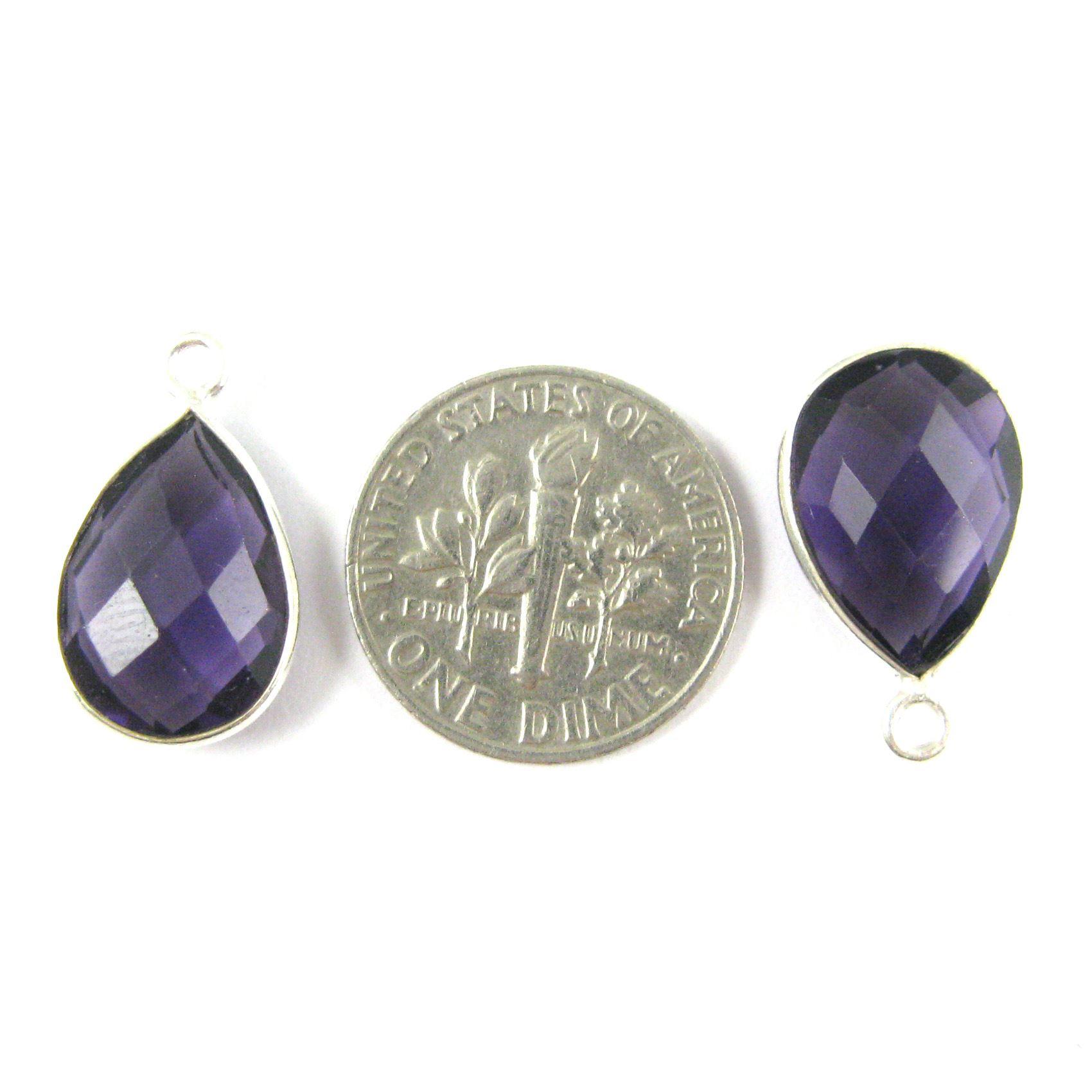 Bezel Gemstone Pendant -Sterling Silver Gem- 10x14mm Faceted Small Teardop Shape - Amethyst Quartz (sold per 2 pieces)