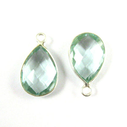 Bezel Gemstone Pendant -Sterling Silver Gem- 10x14mm Faceted Small Teardop Shape - Aqua Quartz (sold per 2 pieces)