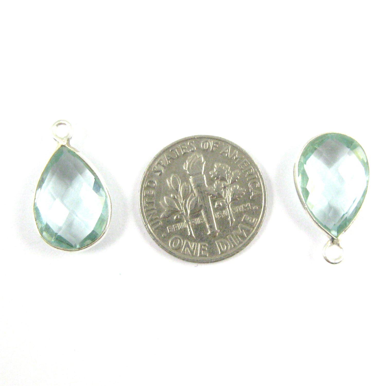 Bezel Gemstone Pendant -Sterling Silver Gem- 10x14mm Faceted Small Teardop Shape - Aqua Quartz (sold per 2 pieces)