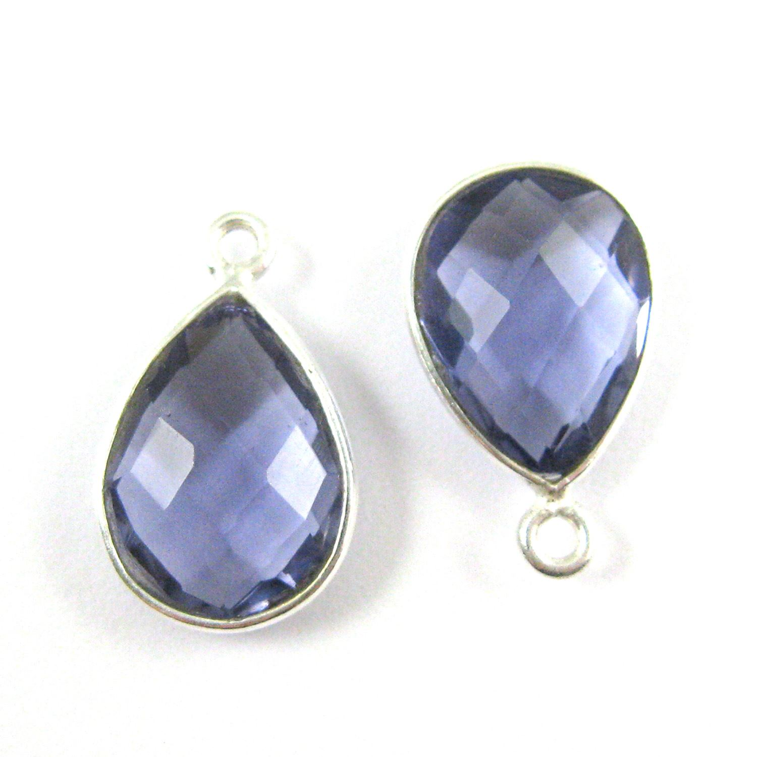 Bezel Gemstone Pendant -Sterling Silver Gem- 10x14mm Faceted Small Teardop Shape - Iolite Quartz  (sold per 2 pieces)