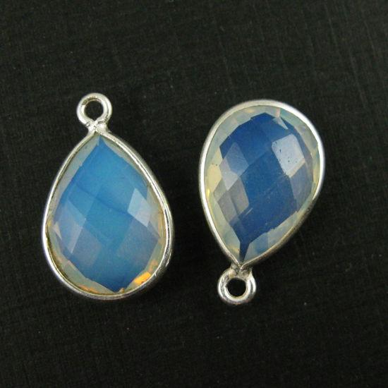 Bezel Gemstone Pendant -Sterling Silver Gem- 10x14mm Faceted Small Teardop Shape - Opalite Quartz (sold per 2 pieces)
