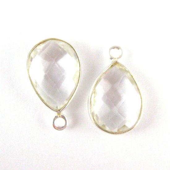 Bezel Gemstone Pendant -Sterling Silver Gem- 10x14mm Faceted Small Teardop Shape - Crystal Quartz (sold per 2 pieces)