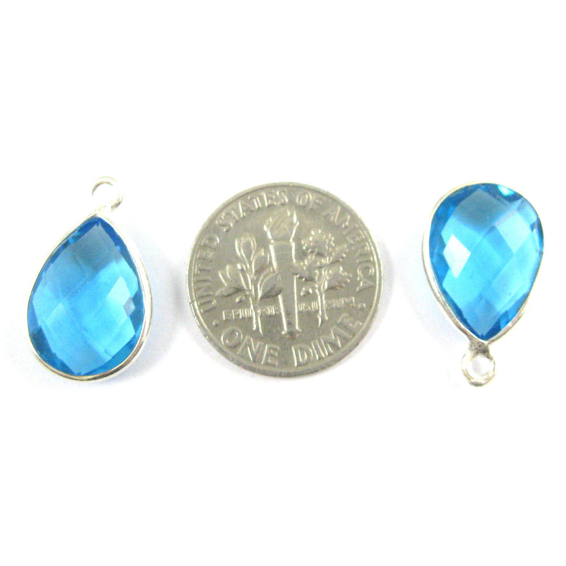 Bezel Gemstone Pendant -Sterling Silver Gem- 10x14mm Faceted Small Teardop Shape - Blue Topaz Quartz  (sold per 2 pieces)
