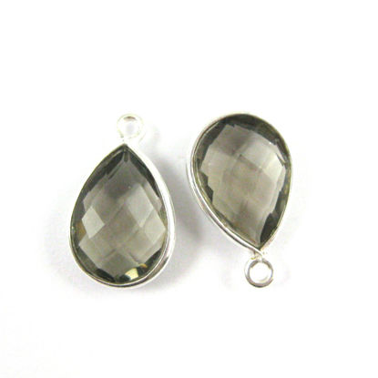 Bezel Gemstone Pendant -Sterling Silver Gem- 10x14mm Faceted Small Teardop Shape - Smokey Quartz (sold per 2 pieces)