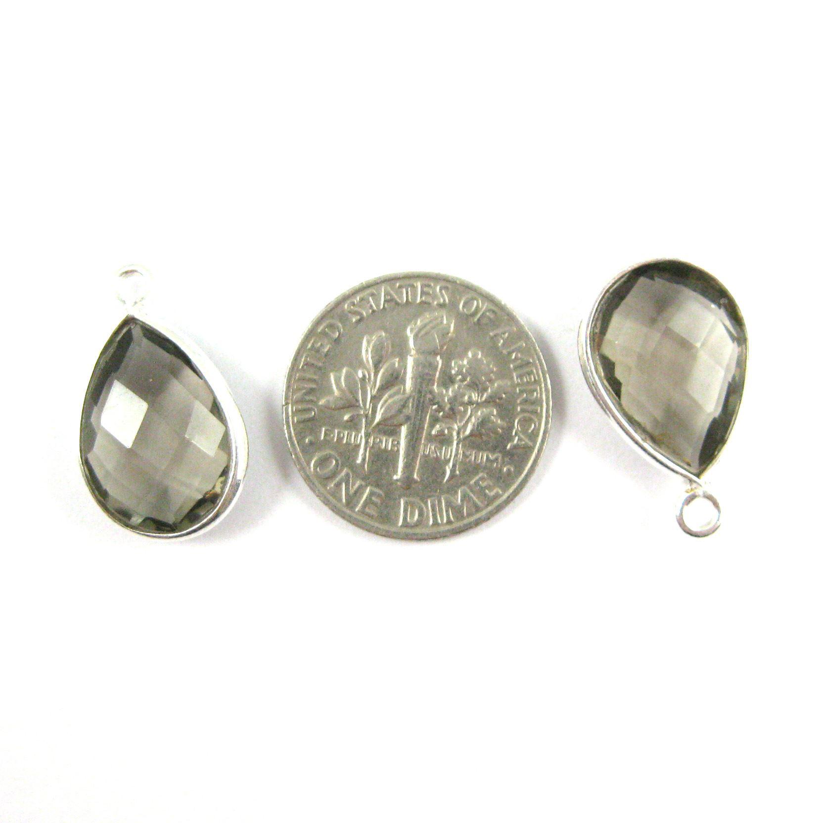 Bezel Gemstone Pendant -Sterling Silver Gem- 10x14mm Faceted Small Teardop Shape - Smokey Quartz (sold per 2 pieces)