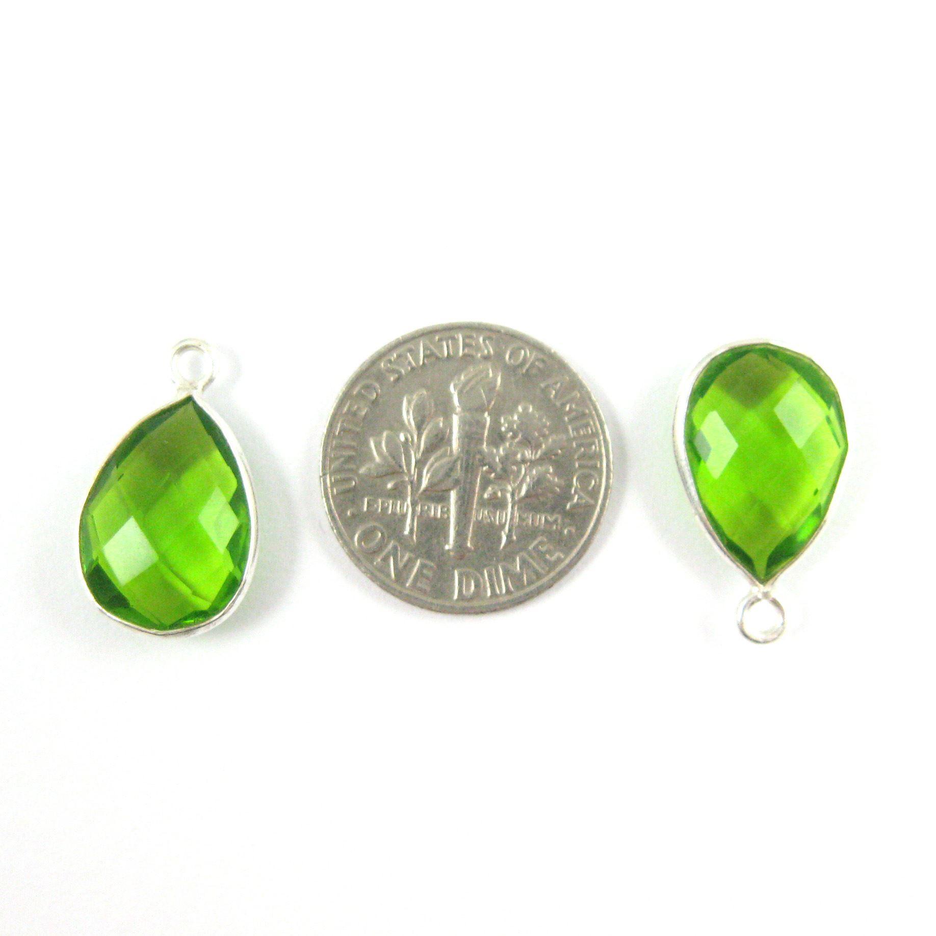 Bezel Gemstone Pendant -Sterling Silver Gem- 10x14mm Faceted Small Teardop Shape -Peridot Quartz  (sold per 2 pieces)