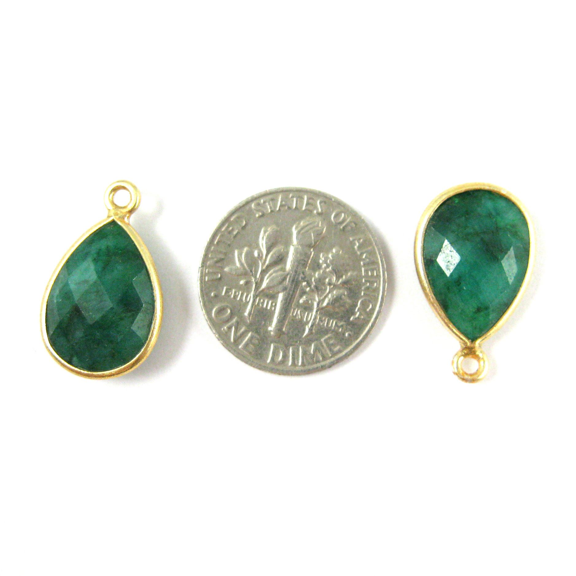 Bezel Gemstone Pendant - 10x14mm Faceted Small Teardop Shape - Dyed Emerald  (Sold per 2 pieces)