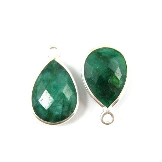 Bezel Gemstone Pendant -Sterling Silver Gem- 10x14mm Faceted Small Teardop Shape -Dyed Emerald (sold per 2 pieces)
