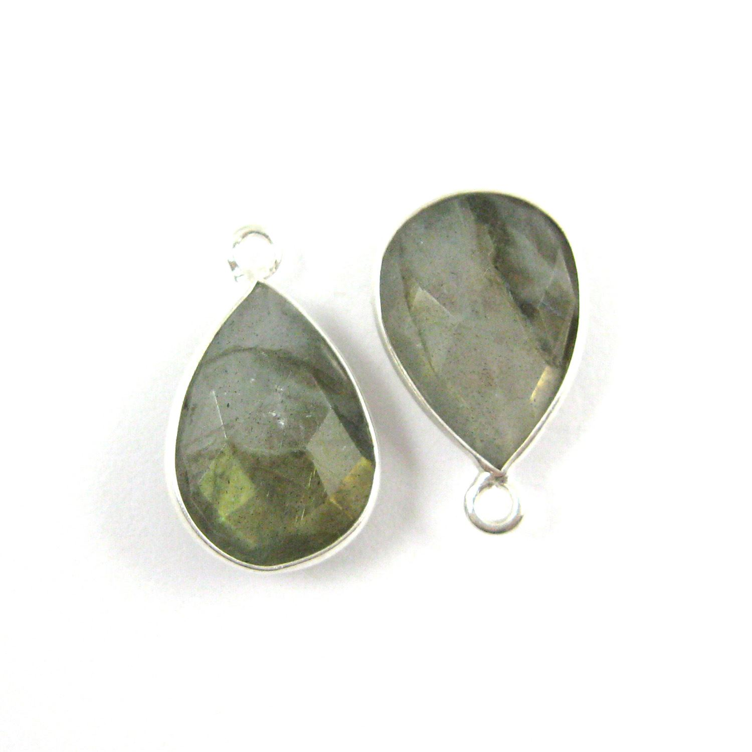 Bezel Gemstone Pendant -Sterling Silver Gem- 10x14mm Faceted Small Teardop Shape - Labradorite (sold per 2 pieces)