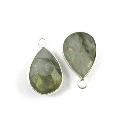 Bezel Gemstone Pendant -Sterling Silver Gem- 10x14mm Faceted Small Teardop Shape - Labradorite (sold per 2 pieces)
