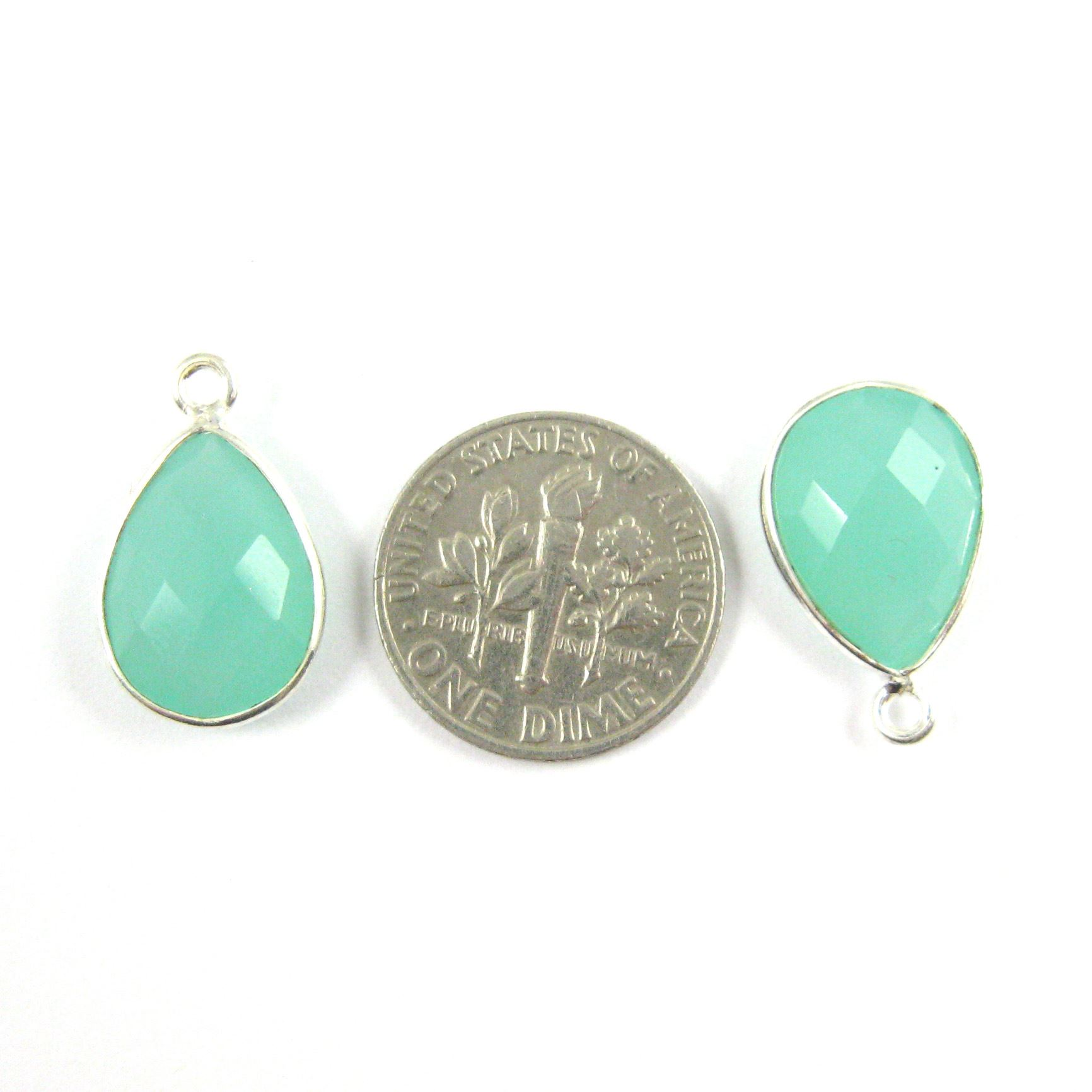 Bezel Gemstone Pendant -Sterling Silver Gem- 10x14mm Faceted Small Teardop Shape - Peru Chalcedony (sold per 2 pieces)