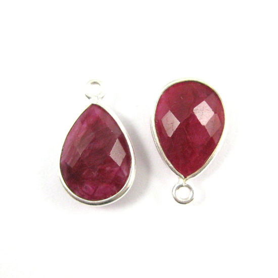 Bezel Gemstone Pendant -Sterling Silver Gem- 10x14mm Faceted Small Teardop Shape - Ruby Dyed (sold per 2 pieces)