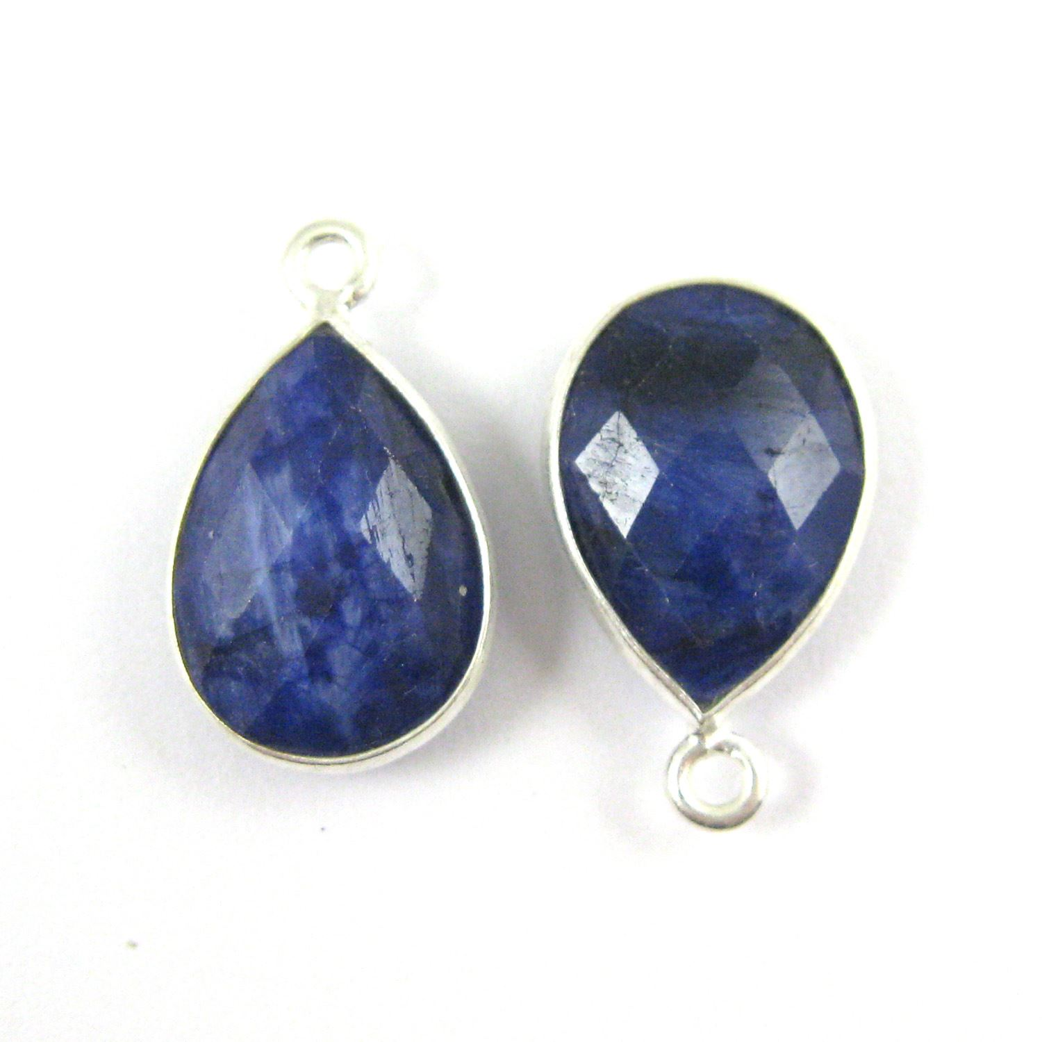Bezel Gemstone Pendant -Sterling Silver Gem- 10x14mm Faceted Small Teardop Shape - Blue Sapphire Dyed (sold per 2 pieces)