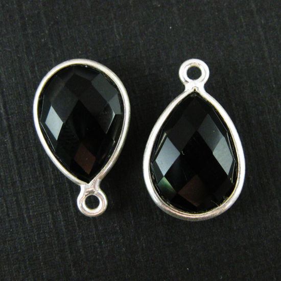 Bezel Gemstone Pendant -Sterling Silver Gem- 10x14mm Faceted Small Teardop Shape - Black Onyx (sold per 2 pieces)