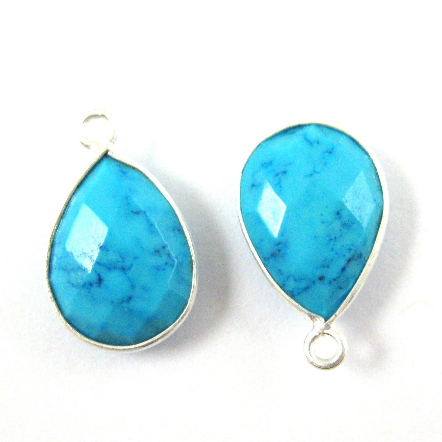 Bezel Gemstone Pendant -Sterling Silver Gem- 10x14mm Faceted Small Teardop Shape - Turquoise (sold per 2 pieces)