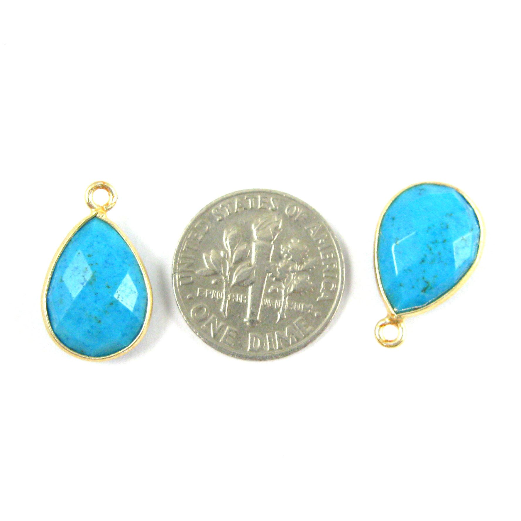 Bezel Gemstone Pendant - 10x14mm Faceted Small Teardop Shape -Turquoise (Sold per 2 pieces)
