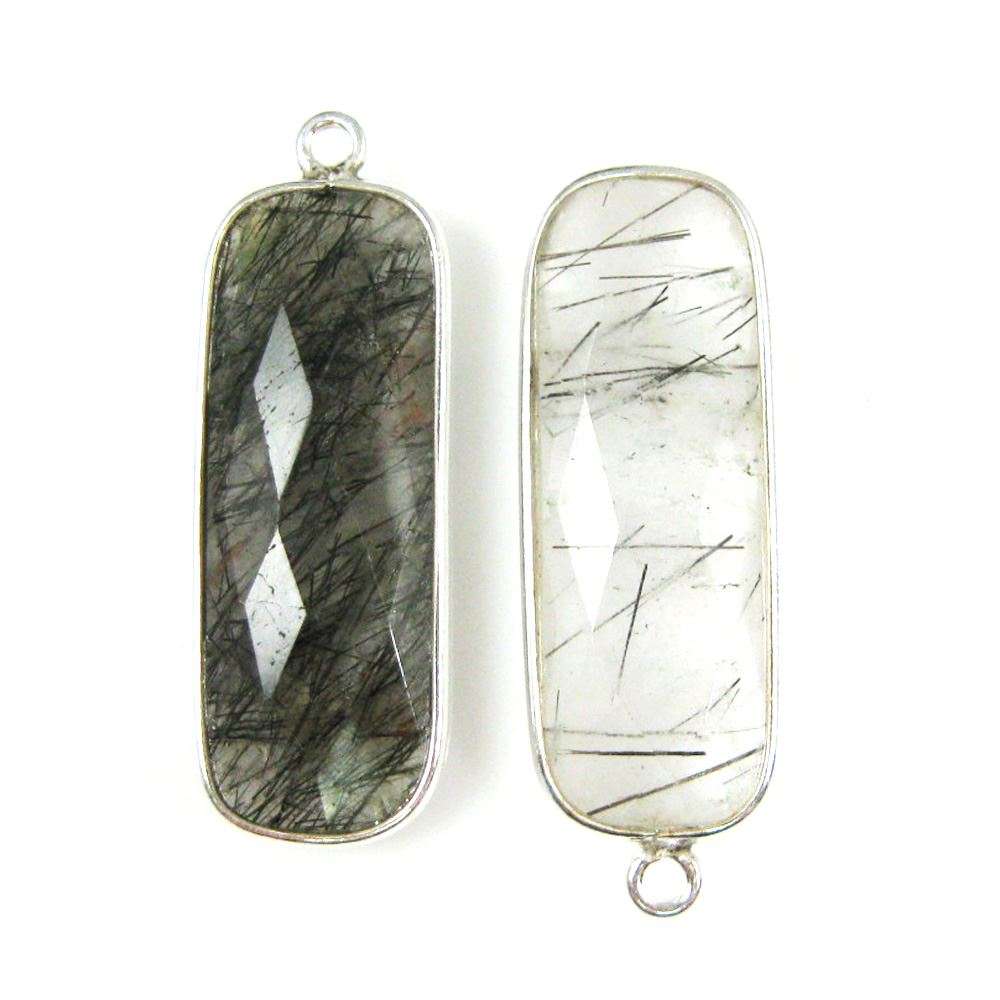 Bezel Charm Pendant-Sterling Silver Charm -Black Rutilated-Elongated Rectangle Shape-34 by 11mm (sold per 2 pieces)