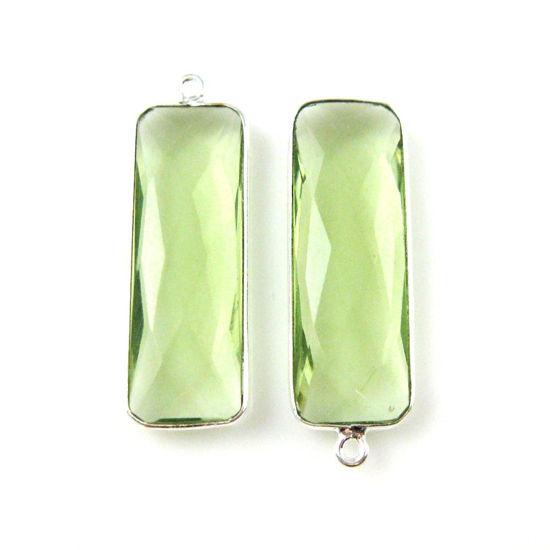 Bezel Charm Pendant-Sterling Silver Charm - Green Amethyst Quartz-Elongated Rectangle Shape-34 by 11mm (sold per 2 pieces)