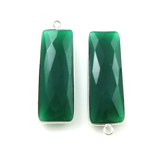 Bezel Charm Pendant-Sterling Silver Charm - Green Onyx-Elongated Rectangle Shape-34 by 11mm (sold per 2 pieces)