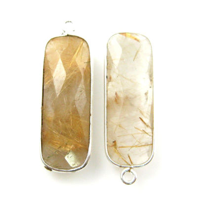 Bezel Charm Pendant-Sterling Silver Charm - Gold Rutilated Quartz-Elongated Rectangle Shape-34 by 11mm (sold per 2 pieces)