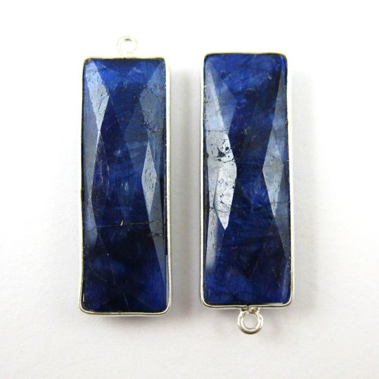 Bezel Charm Pendant -Sterling Silver Charm-Elongated Rectangle Shape- Blue Sapphire Dyed - September Birthstone -34 by 11mm (sold per 2 pieces)