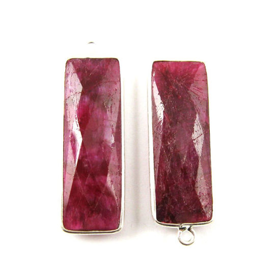 Bezel Charm Pendant -Sterling Silver Charm-Elongated Rectangle Shape- Ruby Dyed - July Birthstone -34 by 11mm (sold per 2 pieces)