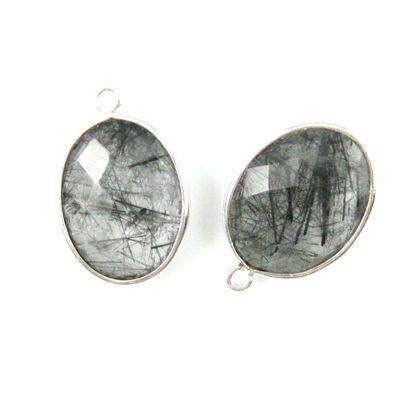 Bezel Gem Pendant-Sterling Silver-14x18mm Faceted Oval-Black Rutilated Quartz(sold per 2 pieces)