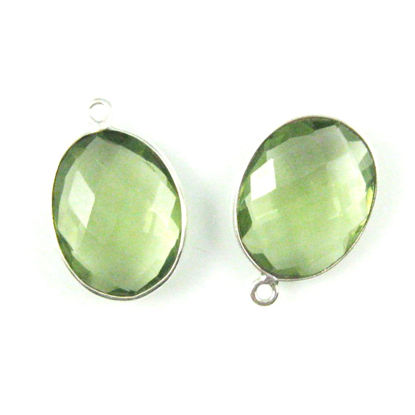 Bezel Gem Pendant - Sterling Silver-14x18mm Faceted Oval-Green Amethyst Quartz (sold per 2 pieces)