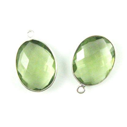 Bezel Gem Pendant - Sterling Silver-14x18mm Faceted Oval-Green Amethyst Quartz (sold per 2 pieces)