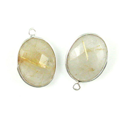 Bezel Gem Pendant - Sterling Silver-14x18mm Faceted Oval-Gold Rutilated Quartz (sold per 2 pieces)