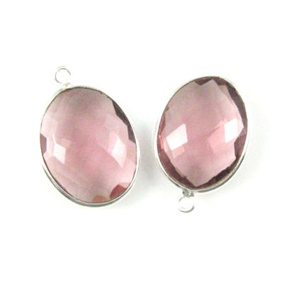 Bezel Gem Pendant - Sterling Silver-14x18mm Faceted Oval - Pink Amethyst Quartz (sold per 2 pieces)