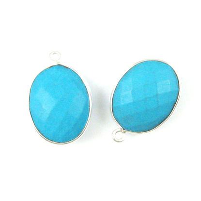 Bezel Gem Pendant - Sterling Silver - 14x18mm Faceted Oval - Turquoise (sold per 2 pieces)