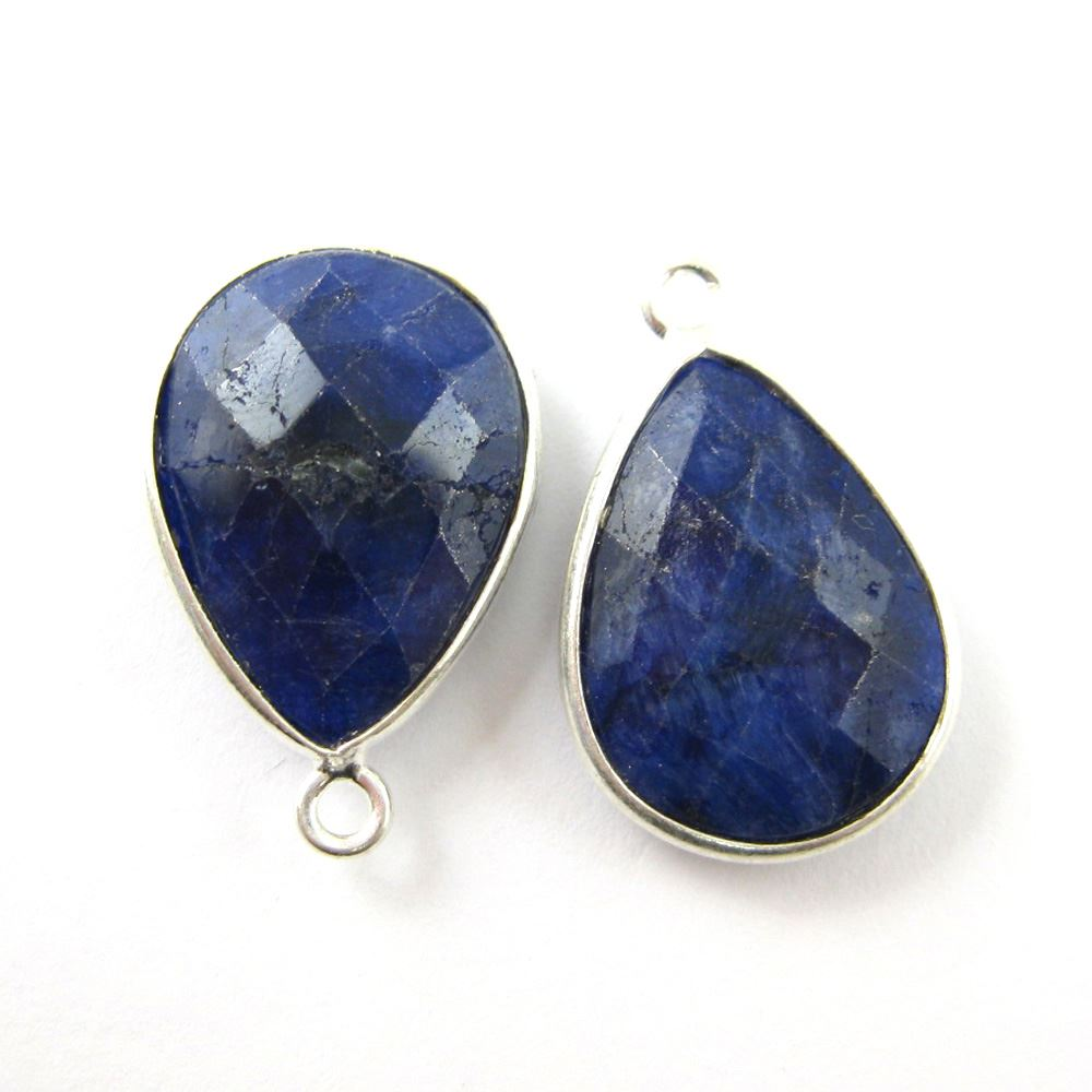 Bezel Gem Pendant - Sterling Silver - 13x18mm Faceted Pear - Blue Sapphire Dyed - September Birthstone - Sold per 2 pieces