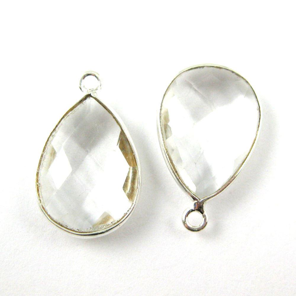 Bezel Gem Pendant - Sterling Silver - 13x18mm Faceted Pear - Crystal Quartz- April Birthstone -  Sold per 2 pieces