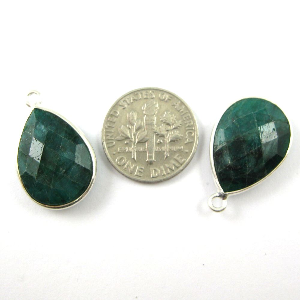 Bezel Gem Pendant - Sterling Silver - 13x18mm Faceted Pear - Emerald Dyed - May Birthstone - Sold per 2 pieces