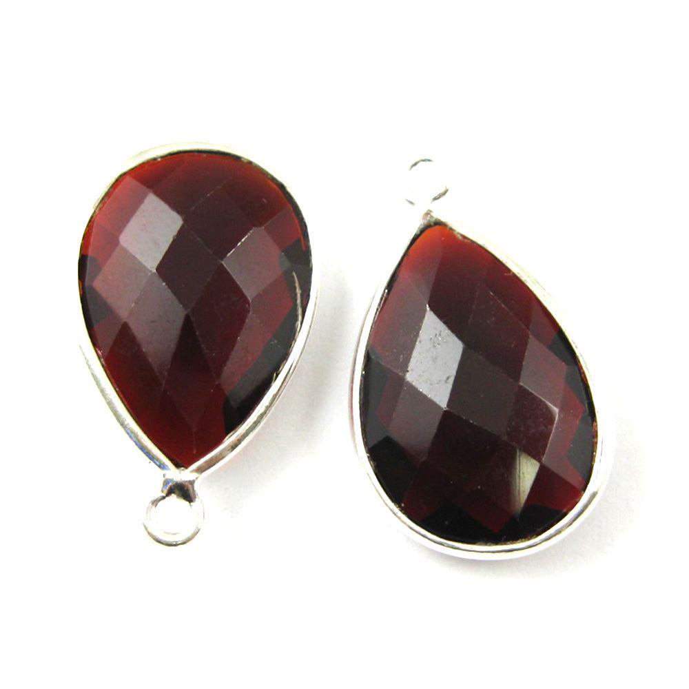 Bezel Gem Pendant - Sterling Silver - 13x18mm Faceted Pear - Garnet Quartz- January Birthstone -  Sold per 2 pieces