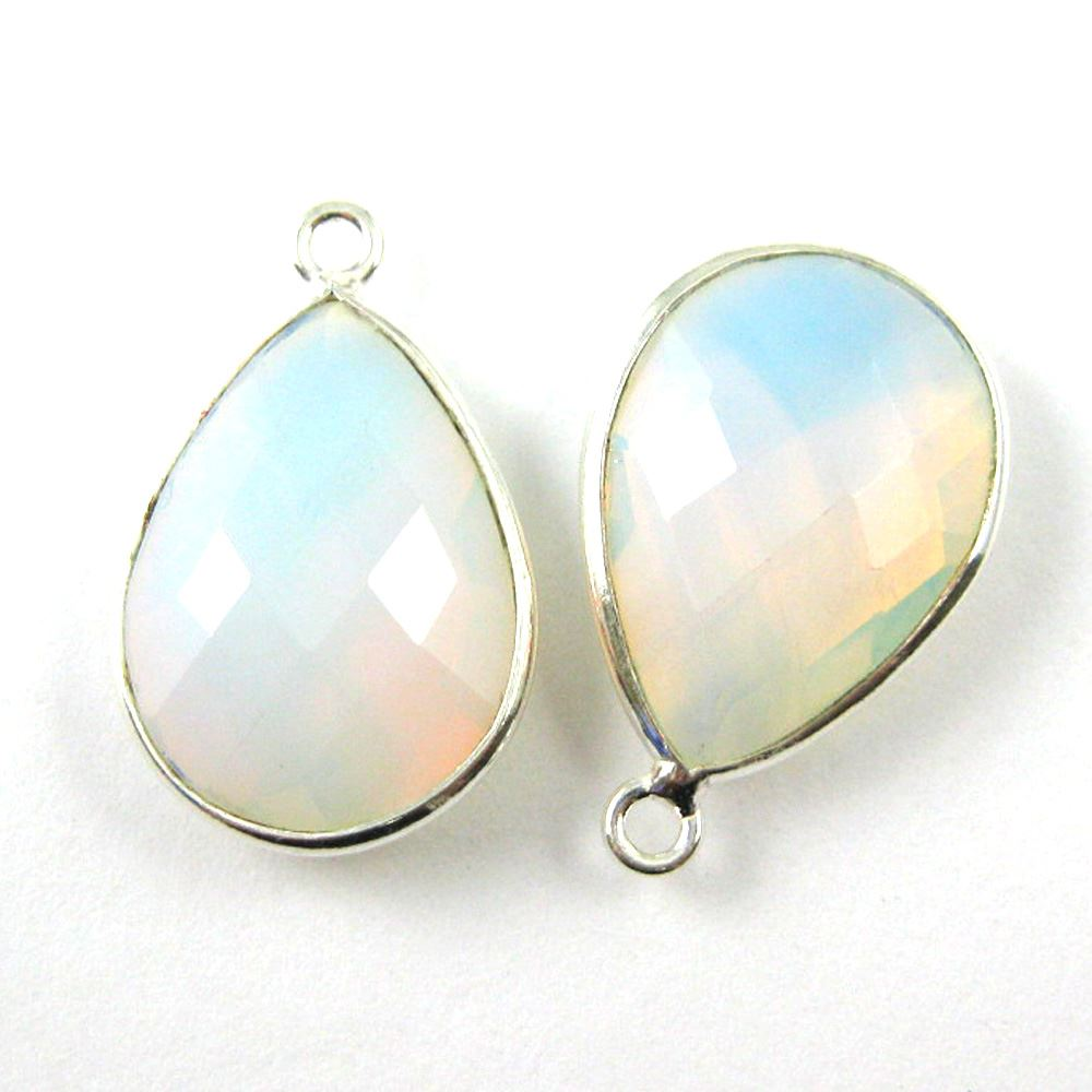 Bezel Gem Pendant - Sterling Silver - 13x18mm Faceted Pear - Opalite Quartz- October Birthstone -  Sold per 2 pieces