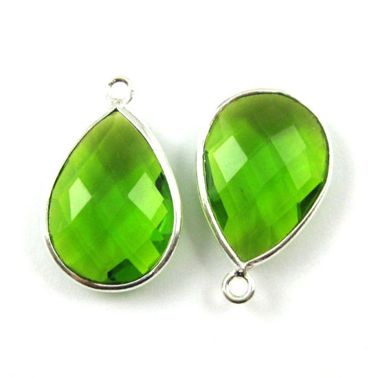 Bezel Gem Pendant - Sterling Silver - 13x18mm Faceted Pear - Peridot Quartz- August Birthstone -  Sold per 2 pieces